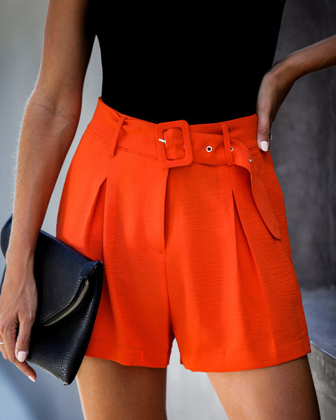 Vermilion Pocketed Belted Shorts