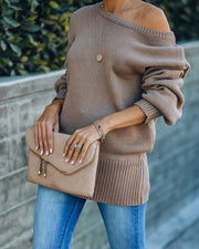 Loose Ends Tie Sweater - Mocha - FINAL SALE view 3