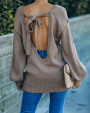 Loose Ends Tie Sweater - Mocha - FINAL SALE view 1