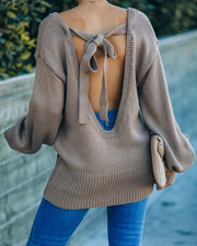 Loose Ends Tie Sweater - Mocha - FINAL SALE view 6