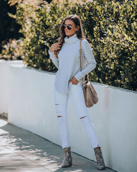 Dane Cotton Blend Thermal Knit Turtleneck Top