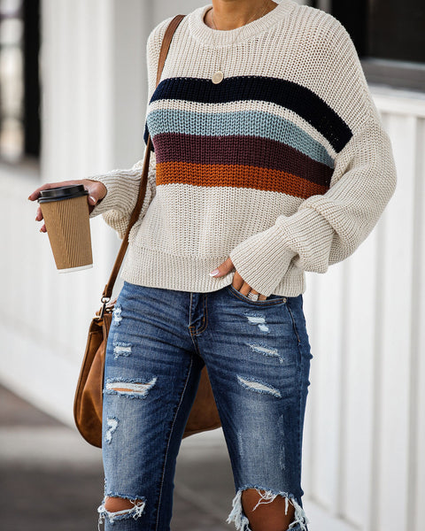 What Fall Is Made Of Striped Knit Sweater - FINAL SALE