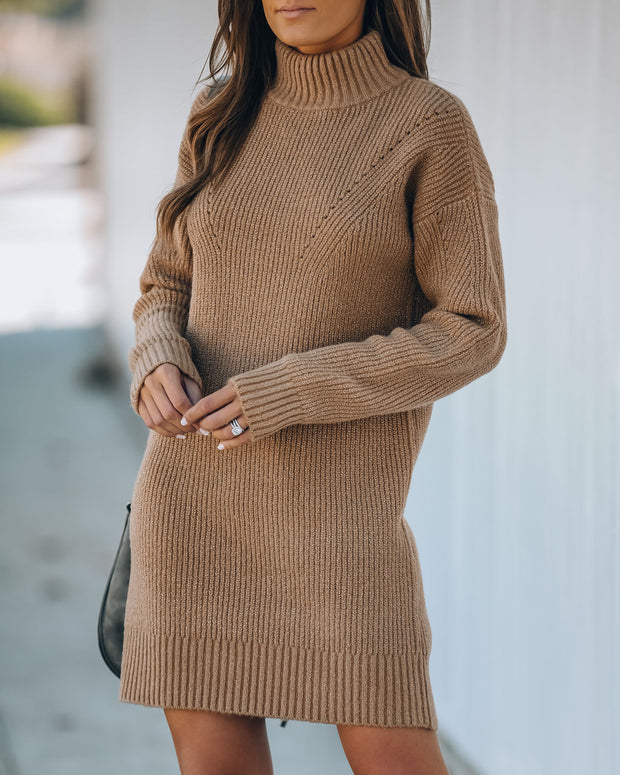 Coming To Town Metallic Knit Sweater Dress