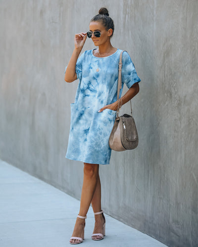Smiley Pocketed Tie Dye T-Shirt Dress - Blue - FINAL SALE