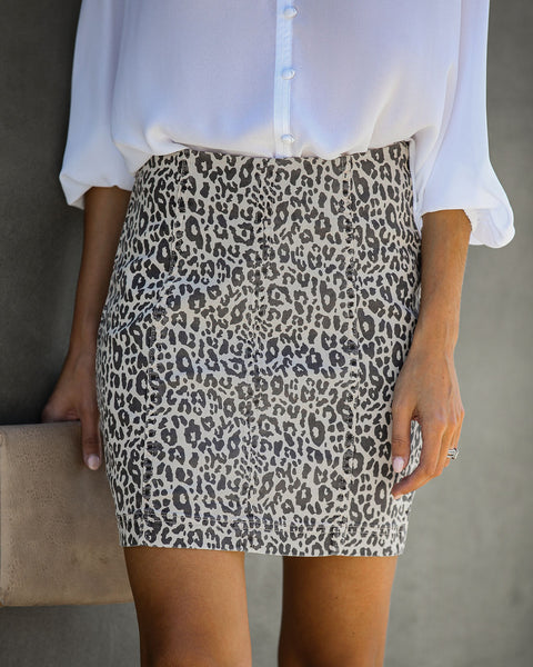 Into The Woods Cotton Leopard Mini Skirt