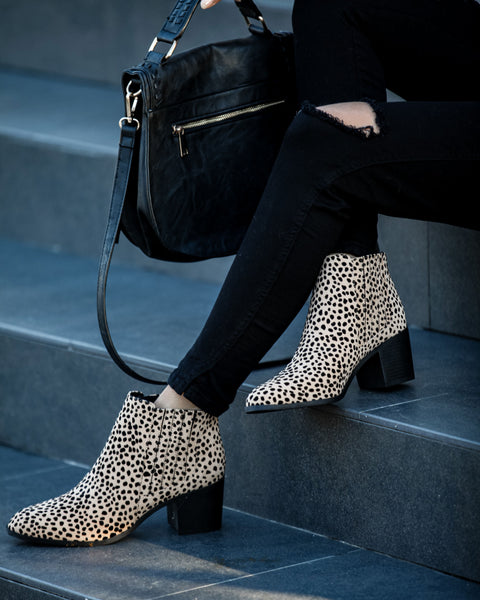 Near And Far Heeled Cheetah Bootie