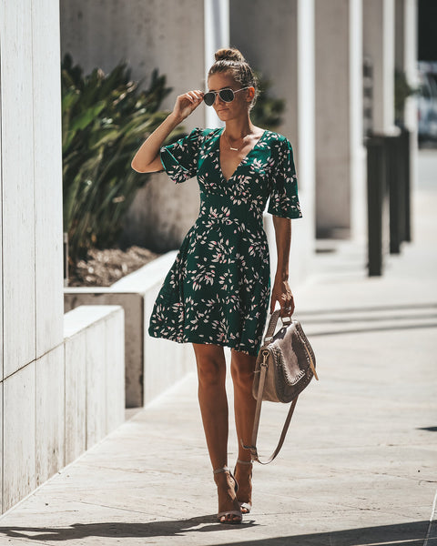 Emerald City Floral Short Sleeve Dress
