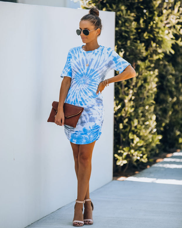 Deep Dive Cotton Tie Dye Ruched Dress