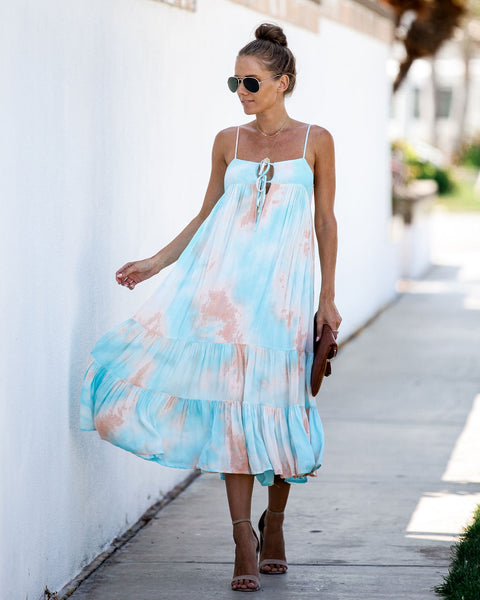 Sweet + Sour Cotton Tie Dye Ruffle Dress