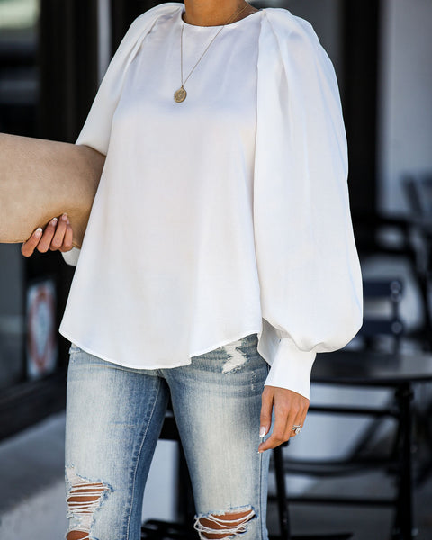 Far And Wide Balloon Sleeve Blouse - Off White