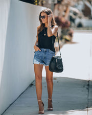 Jay High Rise Distressed Denim Shorts
