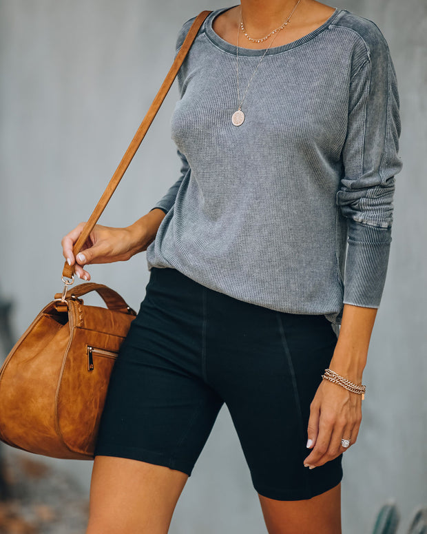 Joshua Tree Washed Knit Top - Charcoal