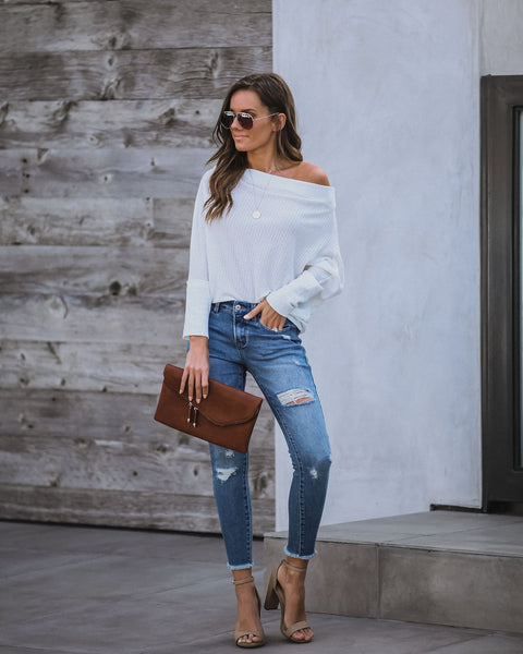 Knoxville Off The Shoulder Thermal Top - Off White - FINAL SALE