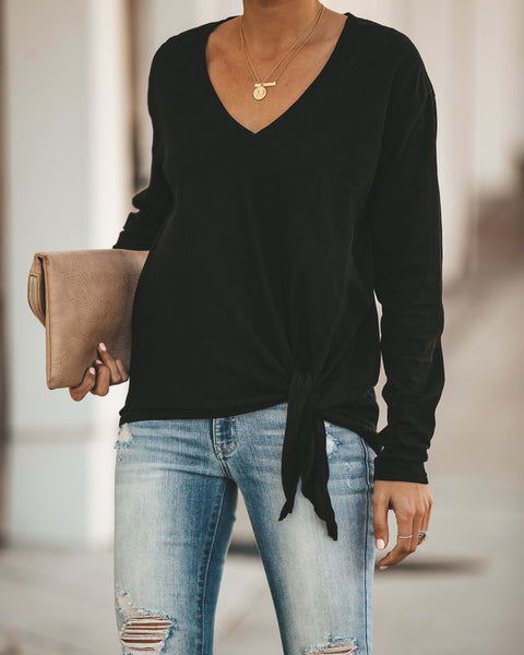Aubree Cotton Long Sleeve Knot Top - Black