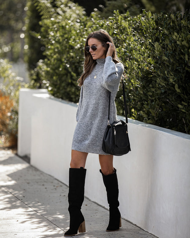 L'amour Mock Neck Sweater Dress - Charcoal