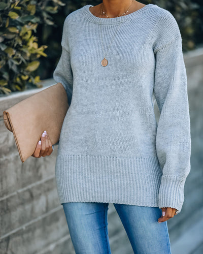 Loose Ends Tie Sweater - Heather Grey