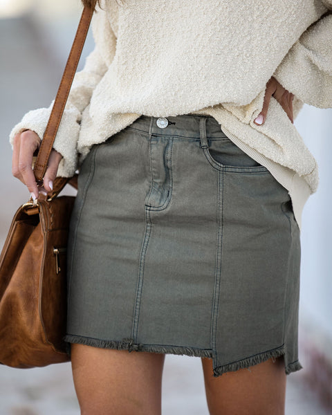 Sage Distressed Denim Skirt - FINAL SALE