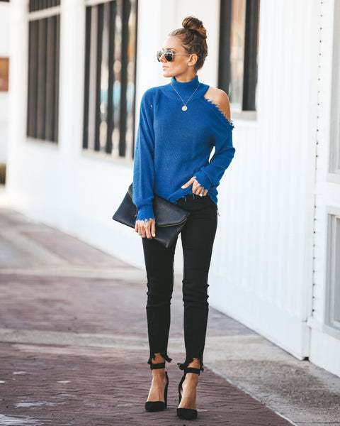 Blue For You Distressed Cut Out Sweater