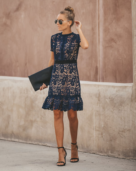 Best Time Of Year Crochet Lace Dress - Navy - FINAL SALE
