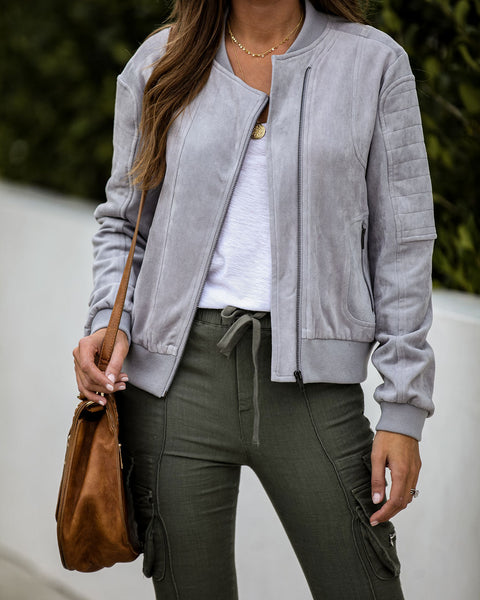 Mitchell Pocketed Faux Suede Bomber Jacket - Grey