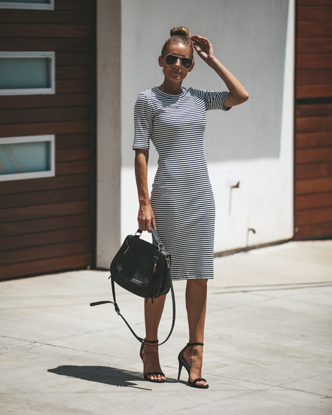Under Your Spell Ribbed Midi Dress - Black - FINAL SALE