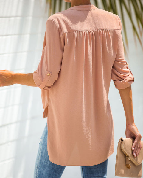 Got You Covered Drape Front Layered Blouse - Adobe