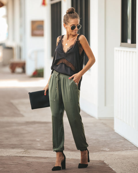 Jeannie Satin Pocketed Joggers - Dusty Olive - FINAL SALE
