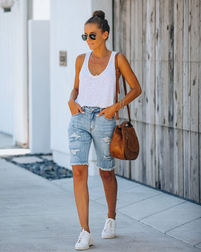 Alice Distressed Denim Bermuda Shorts