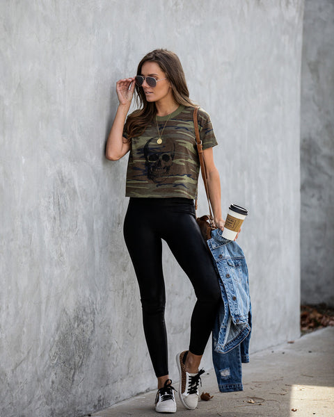 Skelecopter Cropped Camo Tee  - FINAL SALE