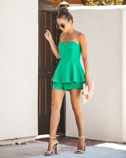 Your One + Only Strapless Romper - Green - FINAL SALE