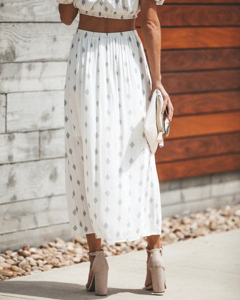 Diamond Daze Button Down Skirt - Cream - FINAL SALE