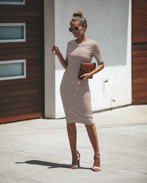 Under Your Spell Ribbed Midi Dress - Camel
