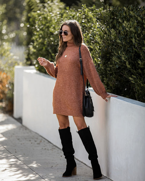 L'amour Mock Neck Sweater Dress - Rust