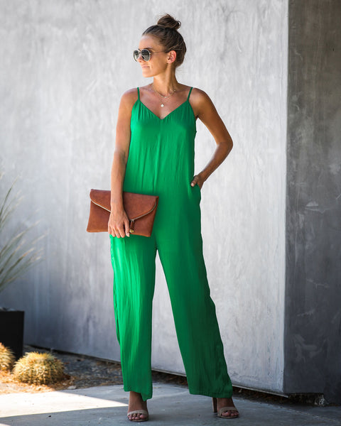 Platinum Card Pocketed Jumpsuit - Green - FINAL SALE