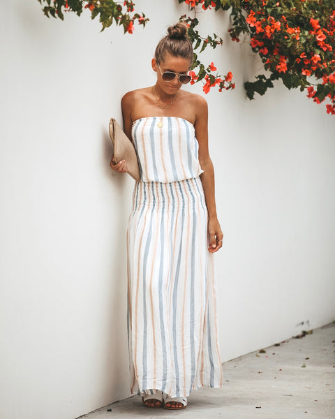 Here To Stay Strapless Smocked Maxi Dress- FINAL SALE