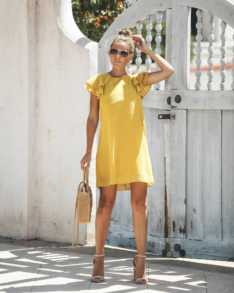 Malta Swiss Dot Shift Dress - Mustard - FINAL SALE