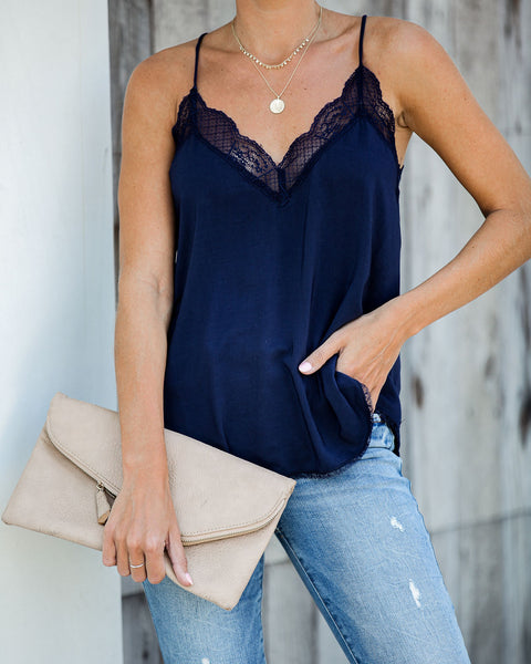 Delicate Balance Lace Cami Tank - Navy