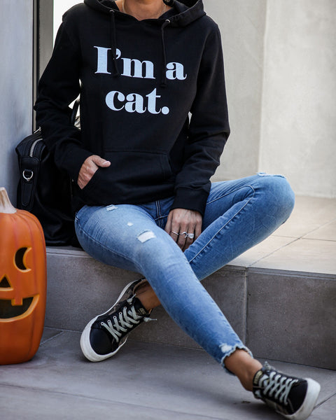 I'm A Cat Cotton Blend Hooded Sweatshirt - FINAL SALE