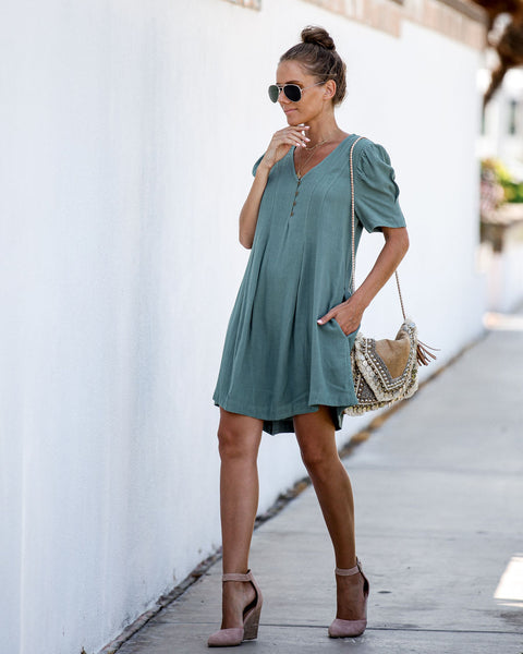 Take A Trip Linen Blend Pocketed Dress - Sea Green