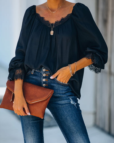 Don't Break My Heart Satin Lace Blouse
