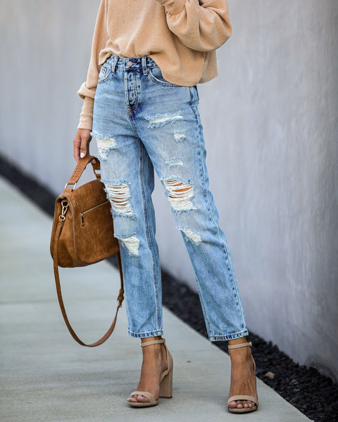 Leonardo High Rise Distressed Boyfriend Denim