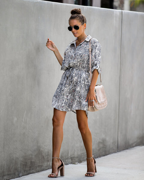 Gus Snake Print Pocketed Shirt Dress