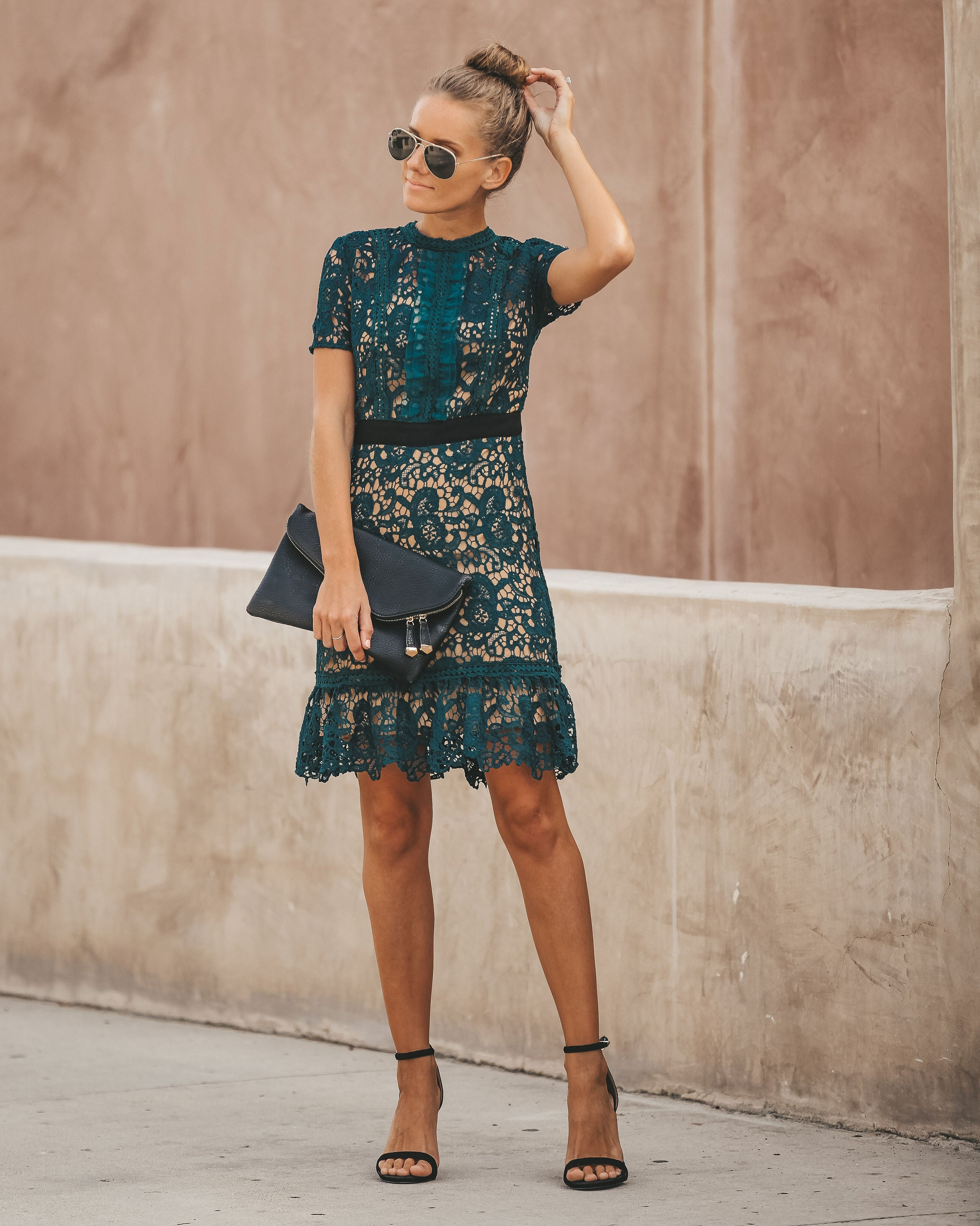 Teal dark lace dress forecasting to wear in summer in 2019