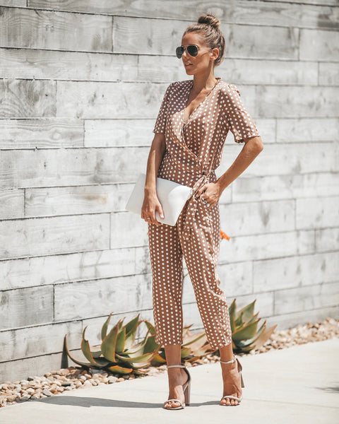 Strike A Pose Pocketed Polka Dot Jumpsuit