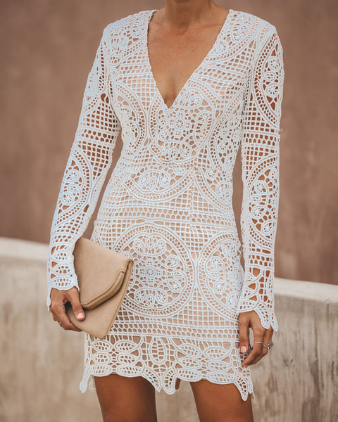 Wine & Dine Crochet Lace Dress - Off White