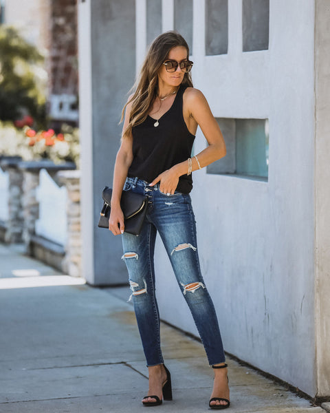 Dustin Mid Rise Button Front Distressed Skinny - FINAL SALE