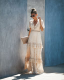 Endless Tiered Lace Maxi Dress - Taupe
