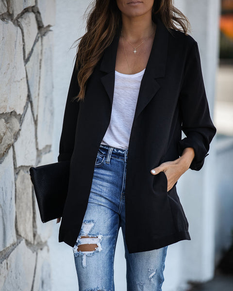 Mover And Shaker Pocketed Blazer - Black