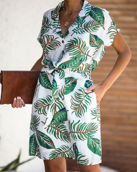 Palm Desert Pocketed Button Down Tie Dress - FINAL SALE