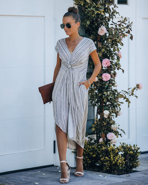 Nothing In This World Pocketed Twist Midi Dress